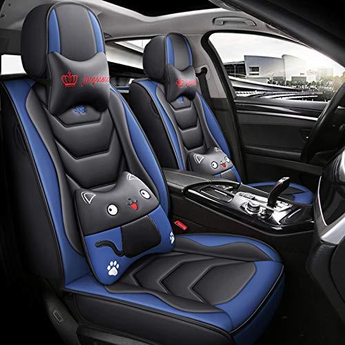 ZHANGTAOLF Funda De Asiento De Coche para BMW 5 Series E60 F07 F10 F11 520Li 523Li 525Li 528Li 530Li 535Li 550Li 530I 535I 550I, Juego Completo Universal De 5 Asientos De Cuero Impermeable,Azul