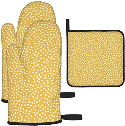 MODORSAN Sunny Dot - Juego de 3 Manoplas y Soportes para ollas para Horno, para cocinar, Hornear, Asar a la Parrilla