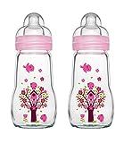MAM 67036700-2 Feel Good Glass Bottle - Botella de cristal (260 ml) rosa Rosa.