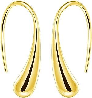Women Fashion Teardrop Back Earrings,Small Sterling Sliver Plated Classic Dangle Hoop Earring Thread Drop Earrings