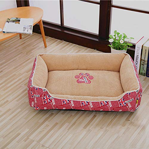 Ygccw Memory Foam Pluche Dog Bedden Hondenmand Bed Dekens Lounger Huisdier Supplies Volledig verwijderbare en wasbare warme seizoenen universele kat kattenbak rood 100 * 80cm