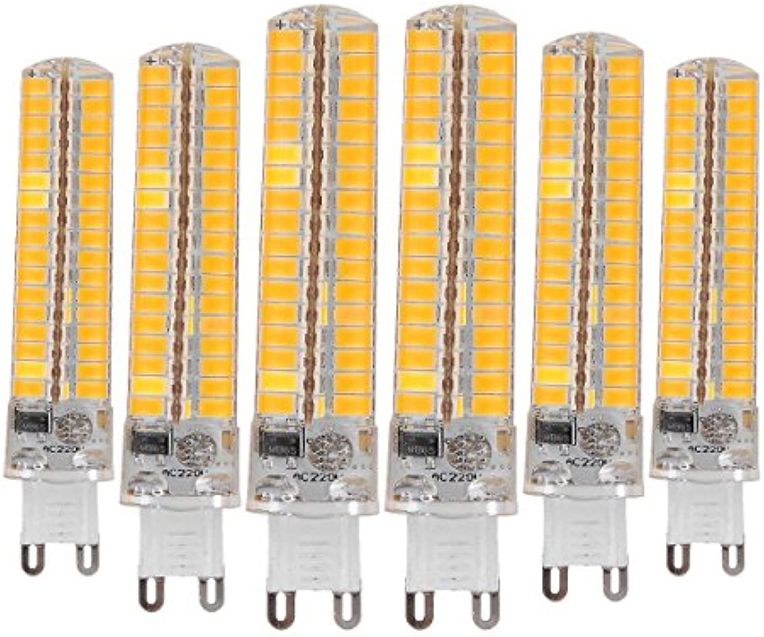 BMY Startseite Led-Lampen, Dimmable G9 10W 136LED 5730 SMD 900-1000 LM Warmwei Cool Weiß Silikonlampe LED Maisbirnen AC 220-240V (6PCS) Leuchtmittel (Gre  warmwei)