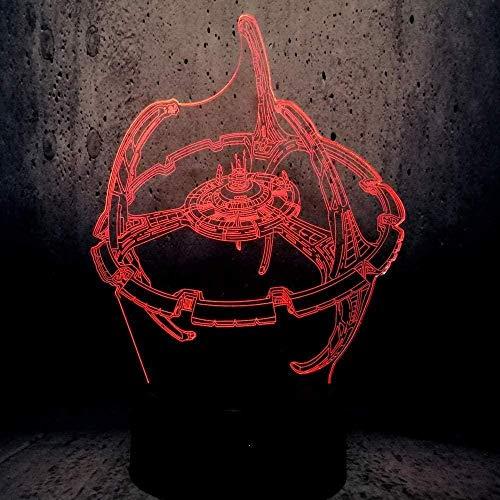 FUTYE Lámpara de ilusión 3D Luz de noche LED Noche Star War Trek Bombilla multicolor Regalo de cumpleaños decorativo Niños Juguetes de dibujos animados Luminaria Pantalla de lámpara de lava