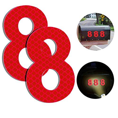 Baiway Reflektierende Hausnummer 8 aus Edelstahl, 7cm Selbstklebende Hausnummer, Klebend Hausnummer Schild zum Aufkleben für Briefkasten/Mailbox/Wand/Straßen und Tür (2er Pack)