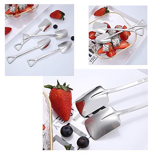 8PCS Dessert Spoons Set Stainless Steel Flat Shovel Shape Dinner Teaspoon for Dessert Coffee Tea Ice Cream Fruit Cake Baby Food for Home Kitchen or Restaurant