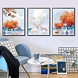 HUANGXLL Estilo Moderno Elk Red Wealth Tree Hoja de Arce Pintura al óleo Impresión de Carteles Lienzo Arte de la Pared Pintura Decoración del hogar Pintura Mural-50x70cmx3pcs Sin Marco