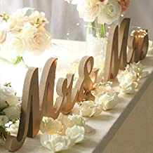 Haperlare Modern Vintage Style Wooden Mr and Mrs Sign Rustic Mr & Mrs Letters Wedding Signs for Wedding Table,Photo Props,Party Table,Top Dinner,Rustic Wedding Decorations, Wood color