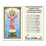 Suplica Para Tiempos Dificiles al Divino Nino Jesus Laminated Prayer Cards - Pack of 25- Espanol