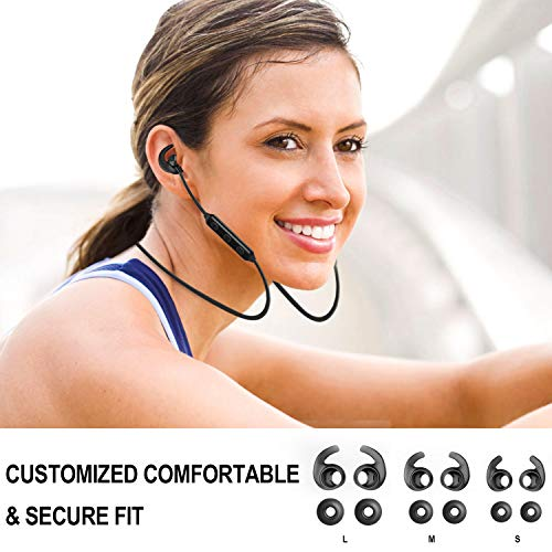 Akface Bluetooth 5.0 HD Stereo Sound Water Proof Sports Earphones with Soft Silicon Earhooks 6Hrs Play Time for Workout, Running, Gym, Black