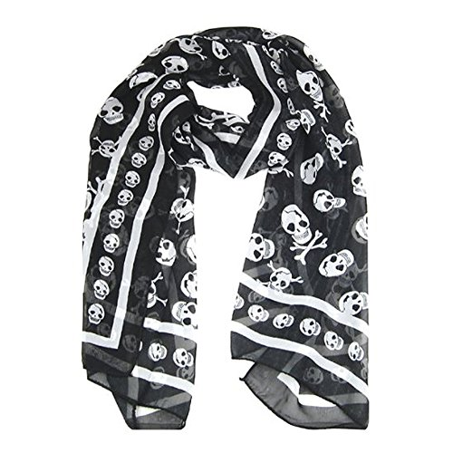 Gleader 1 x foulard/echarpe de soie pour dames De mode punk Design de crane