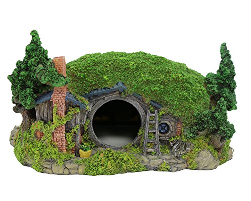 Coospider Hobbit Miniature Landscape Hillside Fairy Hole House Manor Decor Ideas for Aquariums Reptile Box Shelter Ornament 11' L x 8' W x 6.5' H