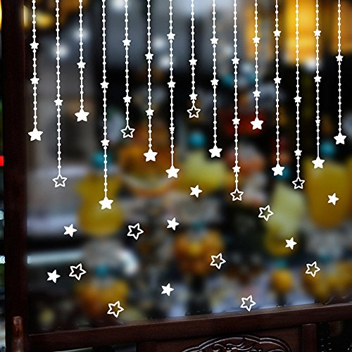 99native Weihnachten Stern Fensterdeko Aufkleber,DIY Abnehmbare Haushaltszimmer Wandaufkleber Wanddekor Aufkleber Ungiftig Wasserdicht Schaufenster Dekor Weihnachten Wandbild Wandtattoos (Weiß)