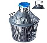 KADAX Glasballon, Gärballon mit Kunststoffkorb, Weite Öffnung, Gummistopfen, Weinballon, Glasgärballon, Flasche, Glasflasche, Gallone, Gärbehälter, Gäreimer (20L)