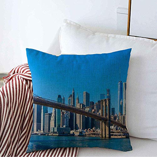 Decorative Throw Pillow Cover Ny Modern Famous Skyline Metropolis View Downtown New York City Hudson Parks Outdoor Street Travel Linen Square Pillow Covers for Couch Sofa Bench 18 x 18 Inches