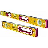 Stabila 37816 48-Inch and 16-Inch Aluminum Box Beam Level Set, Yellow