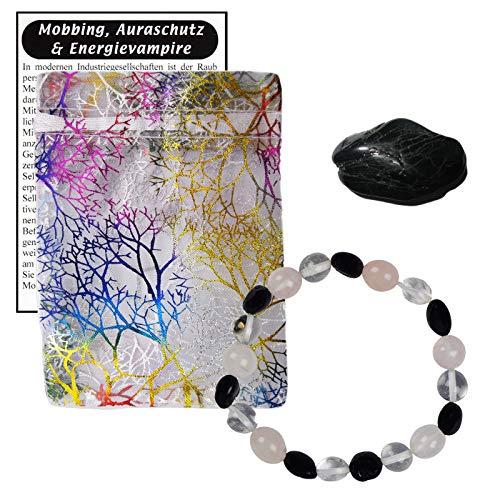 Turmalin schwarz + Bergkristall + Rosenquarz Edelstein Schmuck Armband. Gegen negative Energien + COMPUTER- HANDY-STRAHLEN + ELEKTROSMOG. 60051