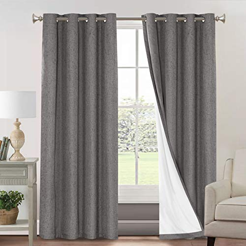 Primitive Textured Linen 100% Blackout Curtains for Bedroom/Living Room Energy Saving Window Treatment Curtain Drapes, Burlap Fabric with White Thermal Insulated Liner (52 x 84 Inch, Grey)