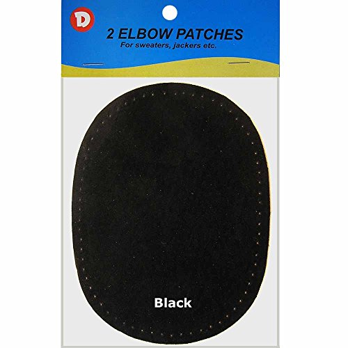 2/pkg Sew-on 4 1/2'x5 3/4' Black Suede Elbow Patches