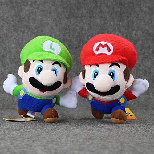 16cm Super Mario Bros knuffel Q versie Mario Luigi Soft gevulde pop verjaardagscadeau voor kinderen Baby Brinquedos, een set