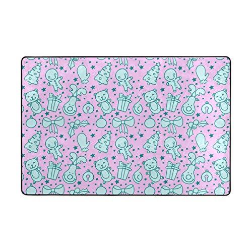 Vipsa Area rugs Polyester Non-Slip Rug Mat 3' x 2' (36' x 24') for Living Dinning Room Bedroom Kitchen, Cute Little Bear Christmas Tree Purple Pattern