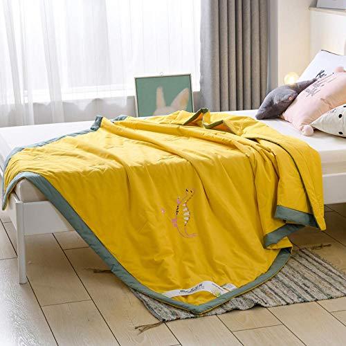 XNSY Sommerdecke Die Sommerdecke Wird durch die dünne maschinenwaschbare Sommerdecke für Kinder klimatisiert-200 x 230 cm_Gelb