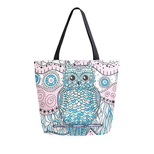 iRoad - Bolsas de lona para mujer, diseño de búho, retro, con mandala, reutilizable, bolsa de lona grande, para viajes, escuela, trabajo