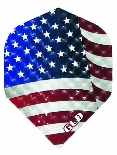3 Sets of 3 Dart Flights - 30-9082 - Dimplex USA Flag Standard Double Thick Dimpled Flights by Dart Brokers