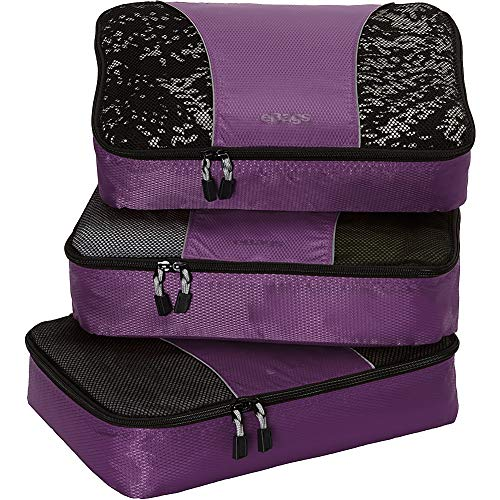 eBags Medium Classic Packing Cubes for Travel - 3pc Set - (Eggplant)