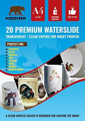 Kodiak Supplies A4 Waterslide Decal Paper INKJET Clear - 20 Sheets - DIY A4 water slide Transfer CLEAR Printable Water Slide Decals A4 20 Sheets (B07CZ76391) (WSDP)