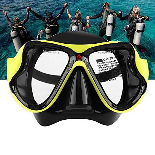 LJXWXN Schwimmbrille für Erwachsene, Keine undichte Schwimmbrille Antibeschlag-UV-Schutz, Weitsicht-Schwimmbrille mit Nasenclips Ohrstöpsel für Männer Frauen Jugend, über 15 Jahre,Gelb