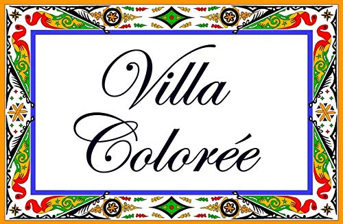 Placa de calle de cerámica con apellido, nombre de villa, nombre de cartel para personalizar con el texto de su elección – 20x30x0.8cm