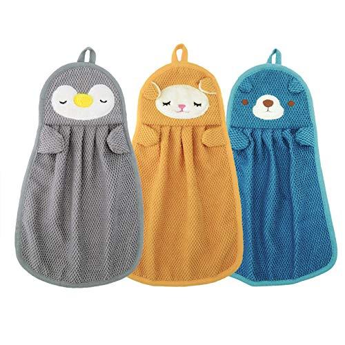 Handtücher für Kinder Handtücher mit Aufhängerschlaufe Tiermotiv Saugfähig Schnell Trocknend Handtücher für Küchen und Badezimmer 3 Stück