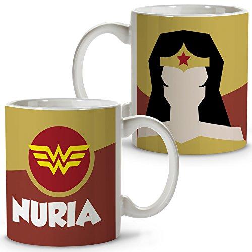 Taza Superhéroes Personalizada con Nombre. Regalo Friki. Varios Diseños y Colores Interior. Mujer Maravilla