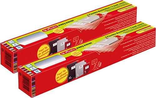 Herlitz 50014743 Buchhülle Easy Cover, 5 Stück in Rolle (2X 5 Flexible Buchhüllen (Rolle), Ohne Kleben)