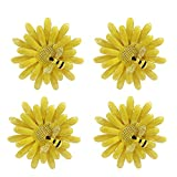 LogHog Napkin Rings Set of 4,Delicate Cute Bee Napkin Holder Rings Table Decorations for Wedding Banquet Birthday Holiday Daily Dinner Party Decor Favor (Yellow Sun Flower)