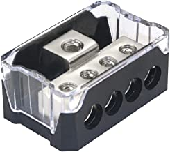 RKURCK 4 Way Power Distribution Block, 0/2/4 AWG Gauge in, 4/8/10 Gauge Out, Car Audio Stereo Amp Distribution Connecting Block for Audio Splitter (1 in 4 Out)