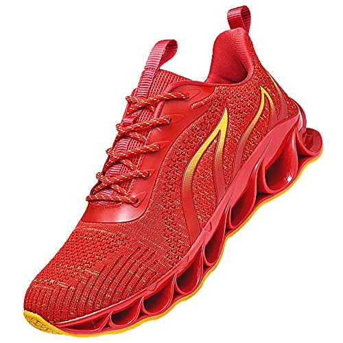Zapatillas De Trail Running Hombre,Sneakers Deportivas Antideslizantes Correr Sneakers,Red_45