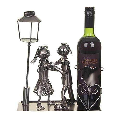 Lucy And Lee Lovers On A Bench Metal Wine Bottle Holder BNIB