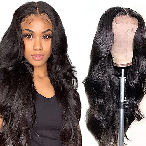 Lace Front Wigs Human Hair For Black Women Pre Plucked With Baby Hair 4x4 Lace Closure Wig 150% Density Natural Color Body Wave Lace Front Human Hair Wigs 28inch