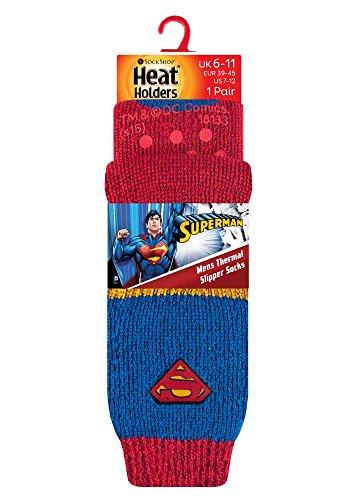 HEAT HOLDERS Sock Snob - Herren Thermische Thermosocken Hausschuh Socken, 39-45 EUR, (Superman)