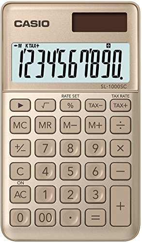 Casio SL-1000SC-GD - Calculadora de bolsillo, 0.9 x 7.1 x 12 cm, color dorado