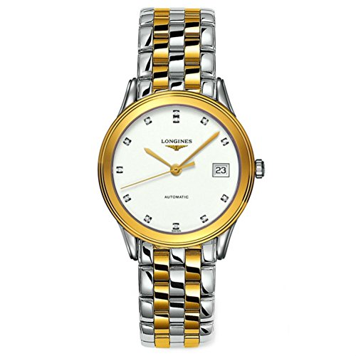 Longines Vlaggenschip Les Grandes Classiques in staal en 18K gouden diamanten markers mannen horloge