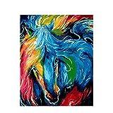 Pintura por números para Adultos Principiante -Paint por números para niños Edades 8-12 -Paint por números Personalizado -Creative EnternTainment Relax Canvas Painting - Azul Horse Animal