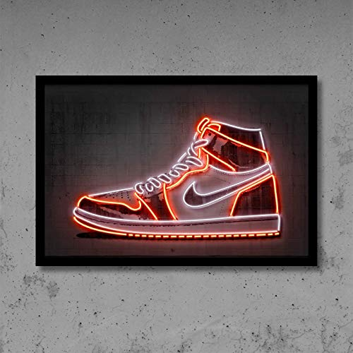 Canvas Painting Abstract Print Art Men Sneakers Basketball Shoes Print Poster Street Wall Art Neon Canvas Painting Gift Idea Home Office Decor Wall Decoration Birthday Present