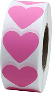 Hybsk Pink Heart Stickers 30mm Adhesive Labels 1,000 Per Roll (1 Roll)