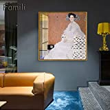 N / A Quadros Gustav Klimt Mom And Baby Stampato Arte Astratta Pittura a Olio su Tela Stampe d'Arte su Tela Picture for Living Room Home Decor60x60cm