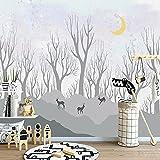 Papel Pintado Nórdico Bosque De Alces Habitación De Los Niños Papel Tapiz De Fondo Mural Impermeable Pintura De Pared Decoración