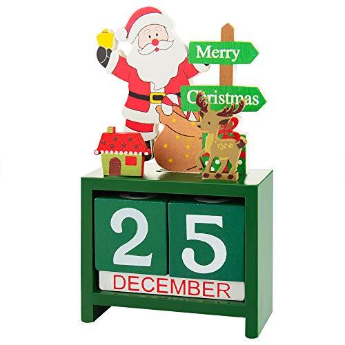 Linkidea Christmas Advent Calendar, Wooden Xmas Countdown Calendar Blocks, Tabletop Desk Calendars for Christmas Holiday Home Office Decoration
