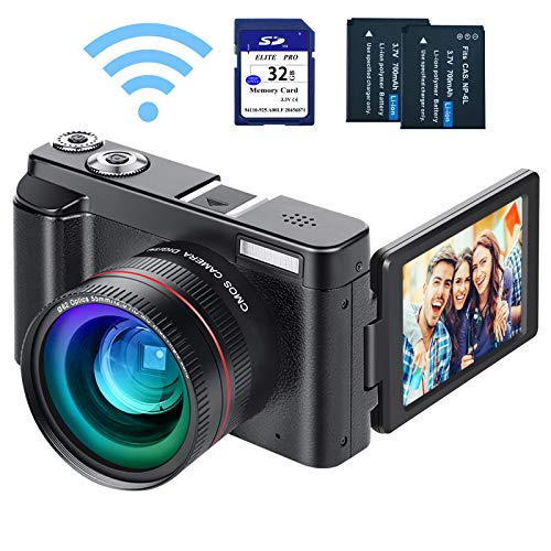 """Digital Vlogging Camera YouTube Camera HD 1080P 24MP Video Camcorder with WiFi Connection, 3.0"""" IPS Flip Screen, Wide Angle Lens,16X Digital Zoom, 2 Batteries, 32GB SD Card"""