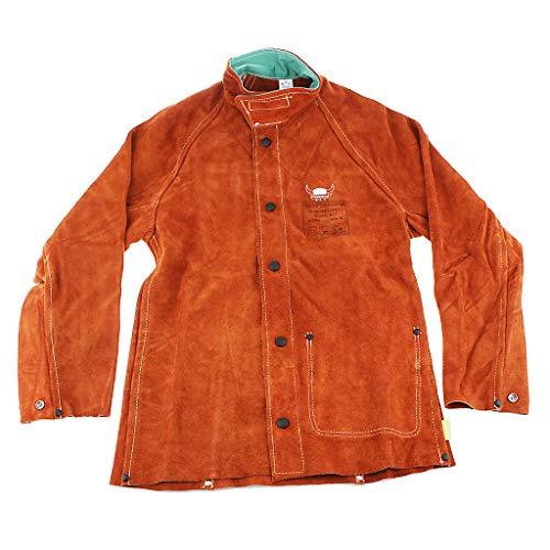 SDENSHI - Ropa de trabajo de seguridad para soldador de chaqueta de soldadura de piel de vaca resistente al calor y duradera